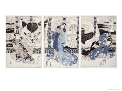Yatsuhashi at Okasaki, Tokaido Gojusan Eki No Uchi, The 53 Stations of Tokaido, c.1835-Utagawa Kunisada-Giclee Print