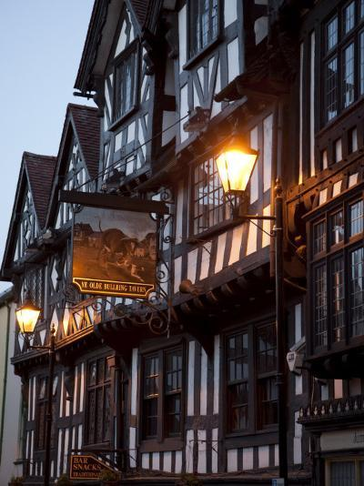 Ye Old Bullring Tavern Public House Dating from 14th Century, at Night, Ludlow, Shropshire, England-Nick Servian-Photographic Print