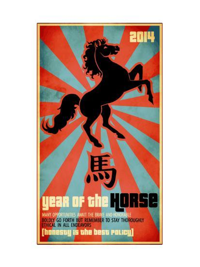Year Of The Horse Poster - Chinese Zodiac Card With The Rearing Horse And Chinese Character Fo-LanaN.-Art Print