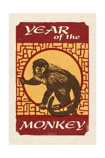 Year of the Monkey - Woodblock-Lantern Press-Art Print