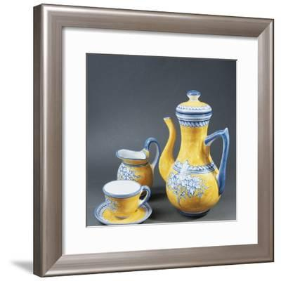Yellow and Blue Renaissance-Style Coffee Service, El Puente Del Arzobispo, Spain--Framed Photographic Print