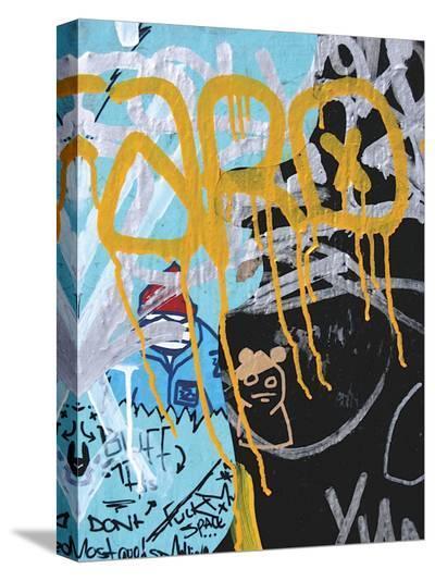 Yellow Aqua Graffiti I-Jenny Kraft-Stretched Canvas Print
