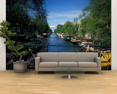 Yellow Bicycle and Canal, Amsterdam, Netherlands-Nik Wheeler-Wall Mural – Large