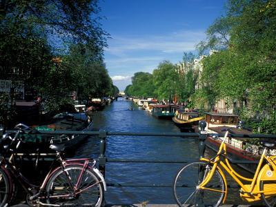 Yellow Bicycle and Canal, Amsterdam, Netherlands-Nik Wheeler-Photographic Print