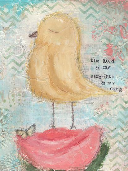 Yellow Bird, Pink Flower-Cassandra Cushman-Art Print