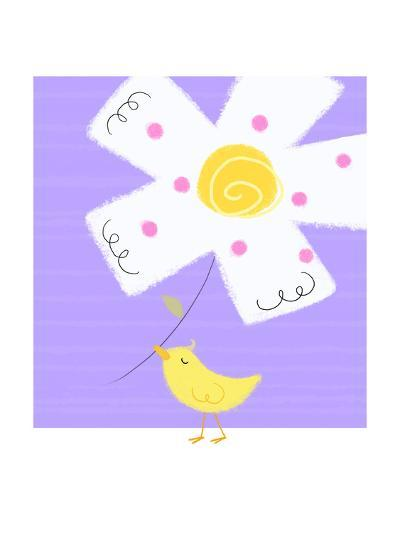 Yellow Bird with White Flower--Art Print