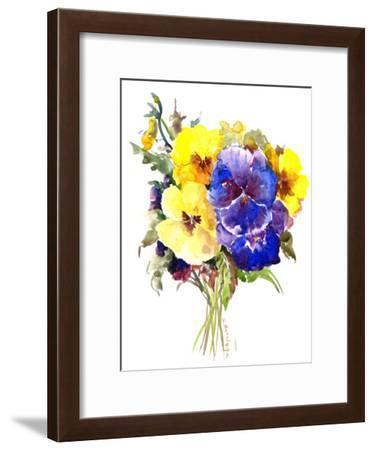 Yellow Blue Pansies Flowers-Suren Nersisyan-Framed Art Print