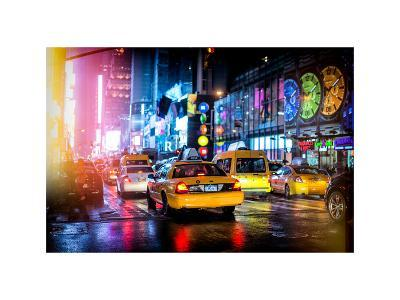 Yellow Cab on 7th Avenue at Times Square by Night-Philippe Hugonnard-Photographic Print
