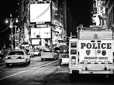 Yellow Cabs and Police Truck at Times Square by Night, Manhattan, New York-Philippe Hugonnard-Photographic Print