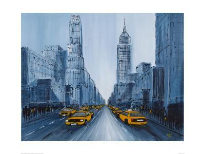 Yellow Cabs, New York-Geoff King-Giclee Print