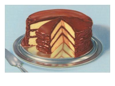 Yellow Cake with Chocolate Frosting, Three Layers--Art Print