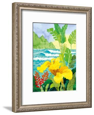 Yellow Canna with Waves - Tropical Paradise Hawaii - Hawaiian Islands-Robin Wethe Altman-Framed Premium Giclee Print