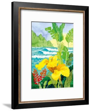 Yellow Canna with Waves - Tropical Paradise Hawaii - Hawaiian Islands-Robin Wethe Altman-Framed Premium Giclee Print