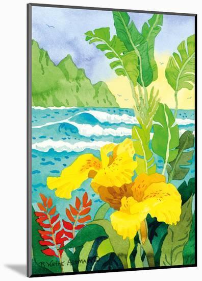 Yellow Canna with Waves - Tropical Paradise Hawaii - Hawaiian Islands-Robin Wethe Altman-Mounted Premium Giclee Print