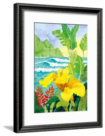 Yellow Canna with Waves - Tropical Paradise Hawaii - Hawaiian Islands-Robin Wethe Altman-Framed Art Print