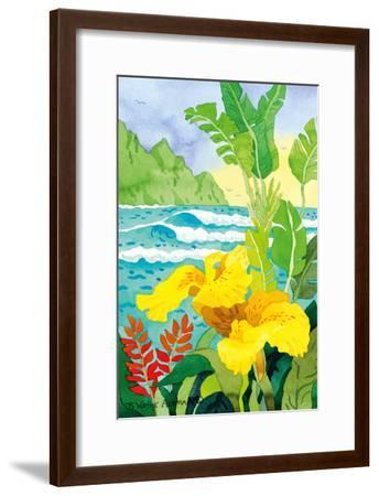Yellow Canna with Waves - Tropical Paradise Hawaii - Hawaiian Islands-Robin Wethe Altman-Framed Art Print