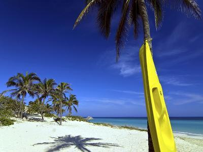 Yellow Canoe at the White Sand Beach of Playa Del Este, Cuba, West Indies, Caribbean--Photographic Print