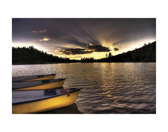 Yellow Canoes-Bob Larson-Art Print