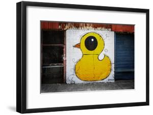 Yellow Duck on Brick Wall in Brooklyn NY