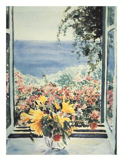 Yellow Flowers In Window-Charles Penny-Art Print