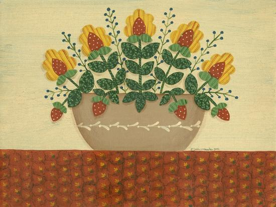 Yellow Flowers with Pumpkin Colored Tablecloth-Debbie McMaster-Giclee Print