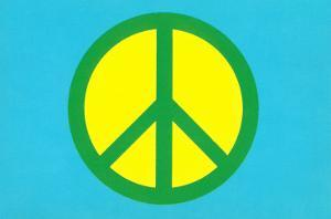 Yellow Green and Blue Peace Sign
