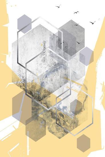 Yellow Grey Abstract Hexagons 1-Urban Epiphany-Art Print