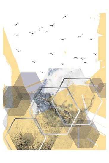 Yellow Grey Abstract Hexagons 2-Urban Epiphany-Art Print