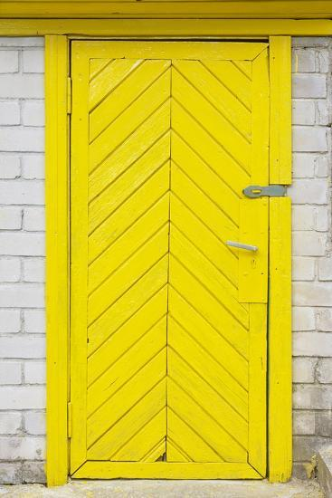 Yellow Old Wooden Door-vilax-Photographic Print
