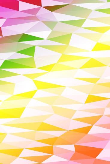 Yellow, Orange, Pink, Multicolor Polygonal Geometric Banner with Rumpled Triangular Low Poly Origam-Mademoiselle de Erotic-Art Print
