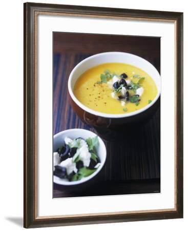 Yellow Pepper Cream Soup with Feta, Olives and Parsley-Maja Smend-Framed Photographic Print
