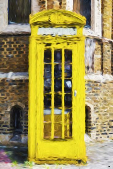 Yellow Phone Booth - In the Style of Oil Painting-Philippe Hugonnard-Giclee Print