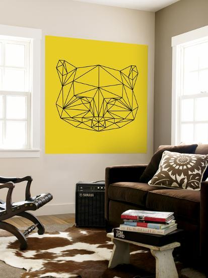 Yellow Raccoon Polygon-Lisa Kroll-Wall Mural