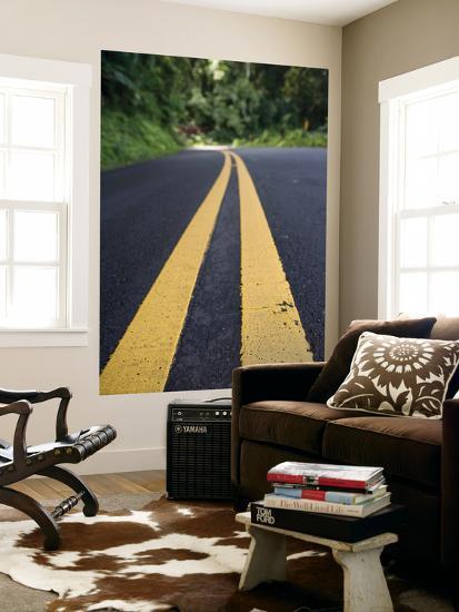 Yellow Road Markings, Maui, Hawaii-Holger Leue-Giant Art Print