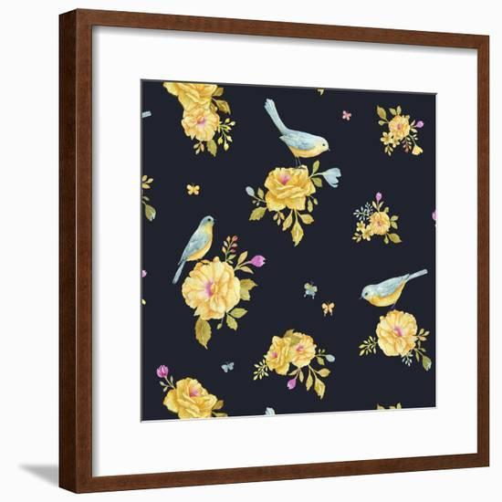 Yellow Rose Pattern-Yachal Design-Framed Giclee Print