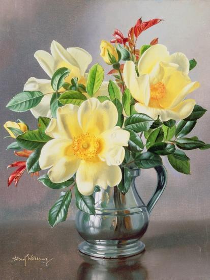 Yellow Roses in a Tankard-Albert Williams-Giclee Print