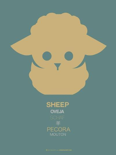 Yellow Sheep Multilingual Poster-NaxArt-Art Print