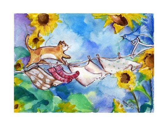 Yellow Tabby Cat Walking on Clothesline-sylvia pimental-Art Print