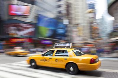 Yellow Taxi Cabs, Just Off Times Square, Manhattan, New York-Peter Adams-Photographic Print
