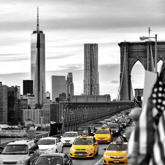 Yellow Taxi on Brooklyn Bridge Overlooking the One World Trade Center (1WTC)-Philippe Hugonnard-Photographic Print
