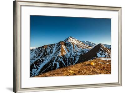 Yellow Tent High In The Mountains Of The Alaskan Range-Lindsay Daniels-Framed Photographic Print