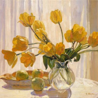 Yellow Tulips and Apples-Valeri Chuikov-Art Print