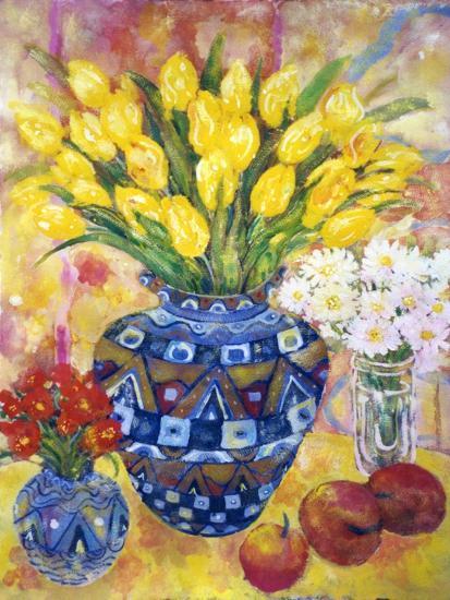 Yellow Tulips in a Blue and Gold Pot-Lorraine Platt-Giclee Print