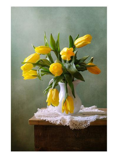 Yellow Tulips in a Vase--Art Print