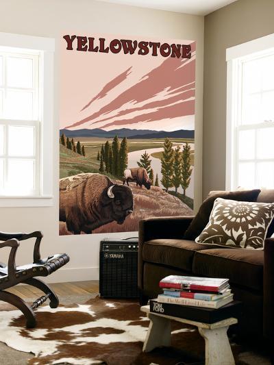 Yellowstone - Bison Scene-Lantern Press-Wall Mural