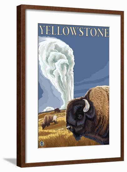 Yellowstone - Bison with Old Faithful-Lantern Press-Framed Art Print