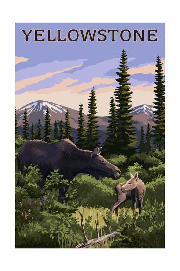 Yellowstone - Moose and Baby-Lantern Press-Art Print