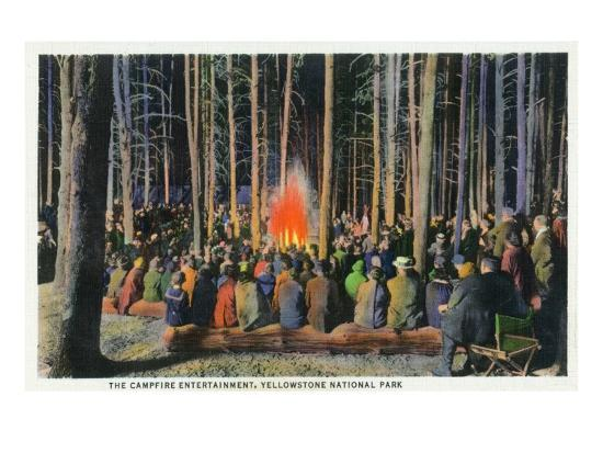 Yellowstone Nat'l Park, Wyoming - Campfire Entertainment Scene-Lantern Press-Art Print