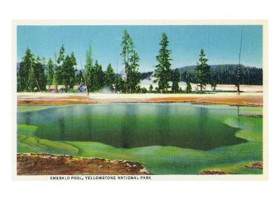 Yellowstone Nat'l Park, Wyoming - Emerald Pool Scene-Lantern Press-Art Print