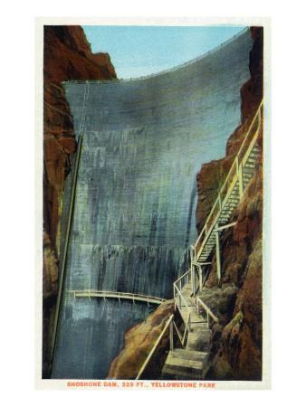 Yellowstone Nat'l Park, Wyoming - Shoshone Dam-Lantern Press-Art Print